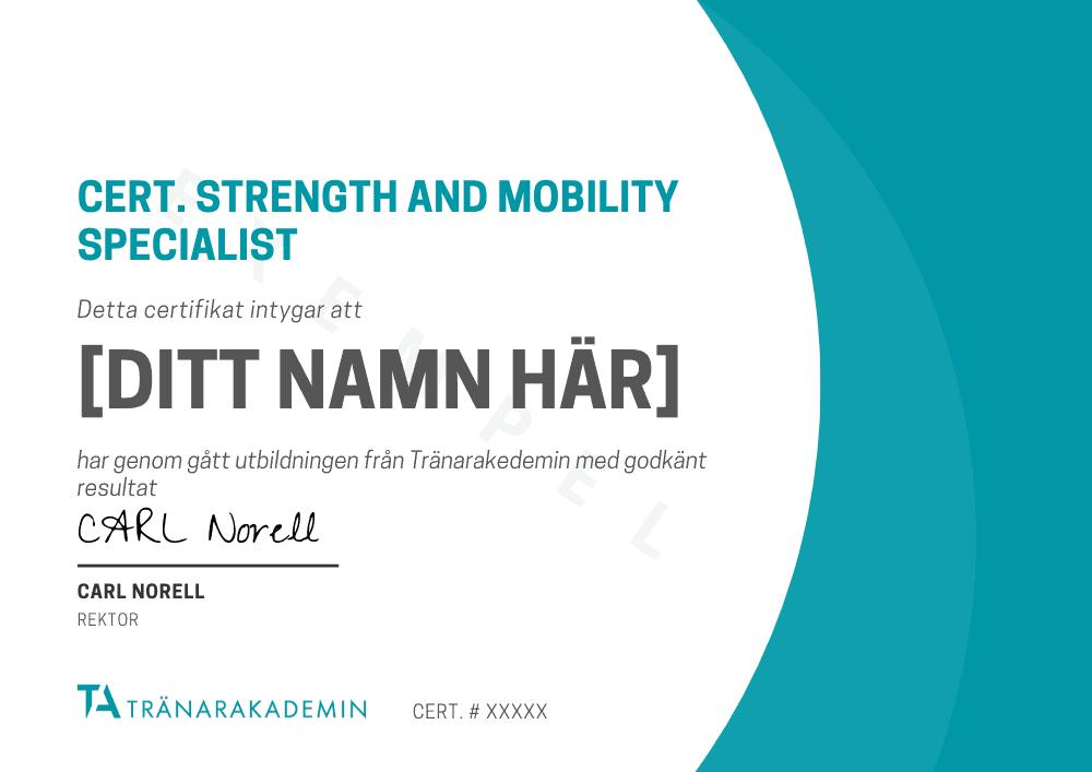 Diplom och certifikat för vår utbildning strenght and mobility specialist
